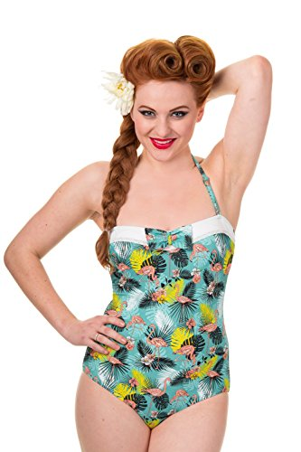 Banned Hawaii Rockabilly Pin Up Badpak voor dames, flamingo Wanderlust jaren 50 vintage zwempak tot 4XL