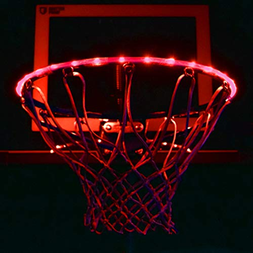 GlowCity LED Basketball Hoop Lights – Glow-in-The-Dark Rim Lights Full Size – Super-Bright to Play Longer Outdoors, Ideal for Kids, Adults, Parties and Training (Red)