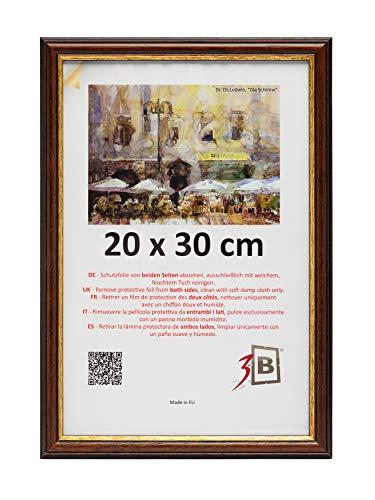 3-B Bilderrahmen BARI RUSTIKAL - dunkel braun - 20x30 cm - Holzrahmen, Fotorahmen, Portraitrahmen mit Plexiglas