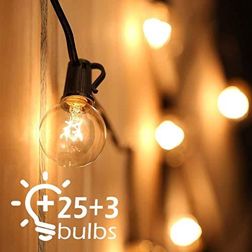 Guirnalda Luces Exterior, 7.62M Cadena de Luz,G40 Guirnaldas Luminosas de Exterior con 25 Blanco Cálido Bombillas,IP44 Impermeable para Jardín Trasero Fiesta Navidad(3 Bombillas de Repuesto)