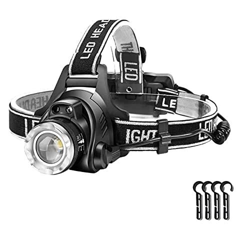 XIALIMY Linternas Frontales 1000LUMEN IPX-65 LED Faro de la Pesca Camping Faros de Acampada Linterna de Alta Potencia Lámpara de Cabeza Zoomable USB antorchas Linterna # t (Emitting Color : White)