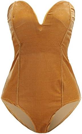 Choies Women s Burgundy Black Sexy Plunge Neck Strapless Cross Back Velvet Bodysuit X Large product image