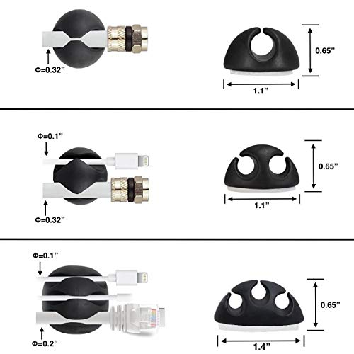 OHill Cable Clips,16 Pack Black Adhesive Cord Holders, Ideal Cable Cords Management for Organizing Cable Wires-Home, Office, Car, Desk Nightstand