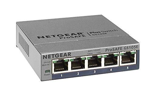 Netgear GS105E-200PES - Switch de red conmutador Smart Managed Plus gestionable (5 puertos Gigabit)