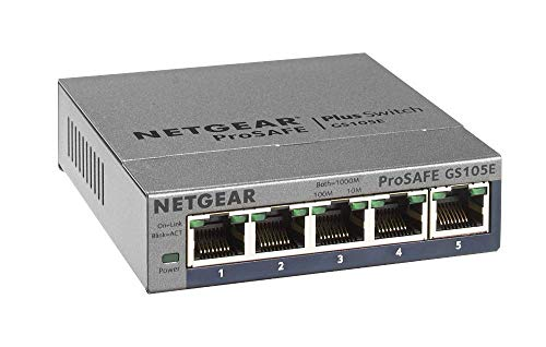 Netgear GS105Ev2 Smart Managed Plus Switch, 5 Porte Gigabit Ethernet, Desktop