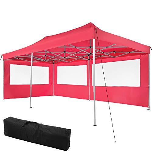 TecTake 800687 Carpa de Jardín 6 x 3m, Plegable, Aluminio, 100% Impermeable, 2 Paneles Laterales, con Cuerdas Tensoras, Piquetas y Bolsa (Rojo   no. 403161)