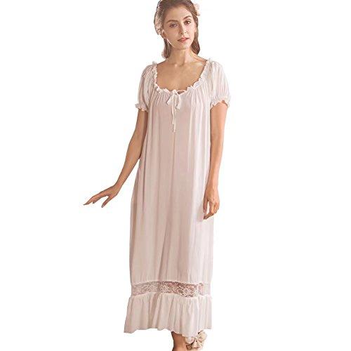QLX Damen Nachthemd Baumwolle mit Spitze Dekoration Nachtkleid viktorianischer Stil Nachtwäsche, Weiß, M