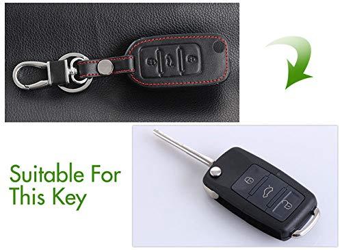 Leder Auto Schlüsselhülle Koffer Shell Fob, passend für Skoda Octavia A5 Fabia Yeti Für Sitz Ibiza Leon Für Volkswagen VW Polo Jetta EOS, 3 Tasten Rote Linie