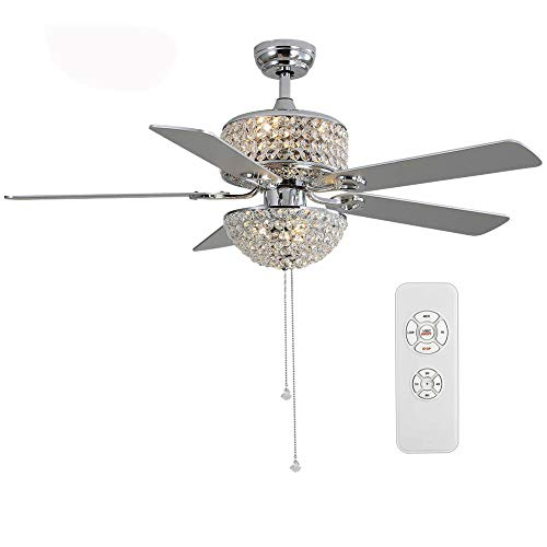 52-inch Modern Crystal Fan Chandelier with 5 Pieces of Wooden Blades with Remote Control Silver without Light Source Dimmable Double Color Changing Ceiling Light