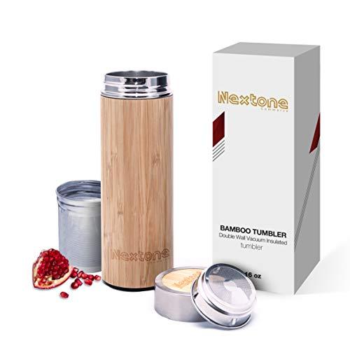 Tea Infuser Tumbler With Detachable Tea Infuser & Strainer | 17oz Premium Bamboo Tea Infuser Bottle With Double Stainless-steel Tea Bottle | Bamboo Tumbler Travel Tea Mug | Comes With Tea Diffuser