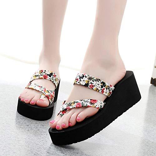 Dames/heren douchesandalen Instappers,Damessandalen met bloemenclip, platform sandalen met hoge hak-Beige_36
