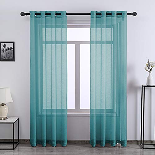Teal Sheer Curtains 72 Inch Grommet 2 Pieces Faux Linen Voile Drapes Window Semi Sheer Curtains for Living Room Bedroom, 52 W x 72 L Inch Length
