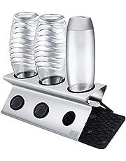 SHAN ZU Flessenhouder voor SodaStream, Droogrek van karaf flessen, 304 roestvrijstalen afdruiprek met afneembare druppelbak - vaatwasmachinebestendig