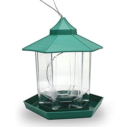 FLL Mangeoire Automatique pour Oiseaux Jardin Balcon Mangeoire pour Oiseaux Nid d'oiseau Boîte de Nourriture extérieure pour Oiseaux Pavillon Rond (Couleur: Vert)