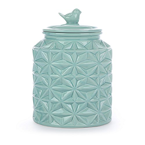 Turquoise Vintage Ceramic Kitchen Flour Canister/Cookie Jar w/Abstract Star Design & Bird Topped Lid