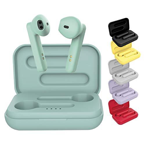 BE Pop Bluetooth-Kopfhörer 5.0 TWS – Kabellose Kopfhörer, Stereo 3D HD, Laufzeit 6 h, LED-Lade-Schutzhülle, leicht zu verbinden, integriertes Mikrofon, leicht und bequem für iPhone/Android (grün)