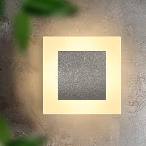 ZMH LED Wandlampe innen Wandleuchte Wand Beleuchtung Wohnzimmer Flur modern quadratisch 3000K warmweiß aus Eisen & Acryl 16cm 6.8W Flurlampe für Schlafzimmer Arbeitszimmer Treppenhaus…