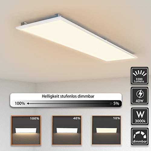 LED Panel Deckenleuchte dimmbar 120x30cm Warmweiss 3000K Ultraslim 40W inkl. Trafo und Befestigungsmaterial für Büroräume, Flure, Küche, Badezimmer, Keller, Verkaufsräume