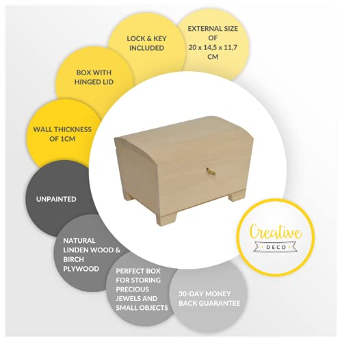 Creative Deco Große Holz-Kiste mit Deckel, Schloss und Schlüssel für Schmuck-Stücke   20 x 14 x 12,5 cm   Abschließbare Holz-Box für kleine Gegenständen   Perfekt für Aufbewahrung und Dekoration - 5