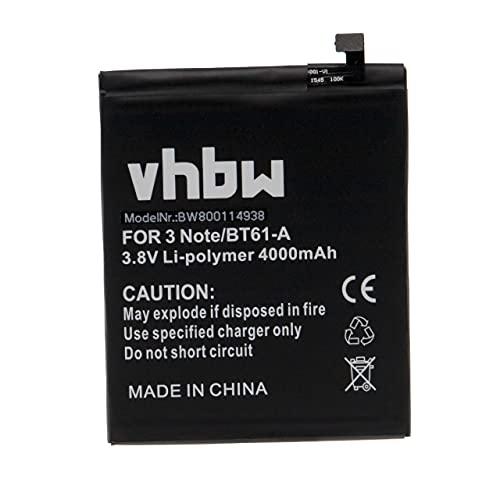 vhbw batteria compatibile con Meizu M3 Note, M3 Note Dual Sim smartphone cellulare (4000mAh, 3,85V, Li-Poly)