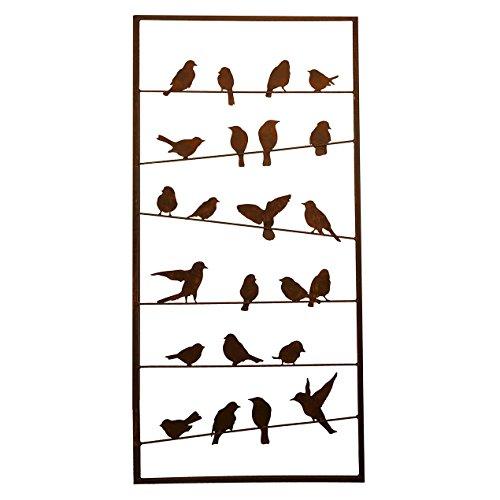 Großer Paravent/Raumteiler für Garten - Höhe 190cm/Breite 90cm - Zeitloses Motiv: Vögel - Rost/Edelrost/Metall - Sichtblende/Trennwand/Sichtschutz/Designelement mit festem Stand