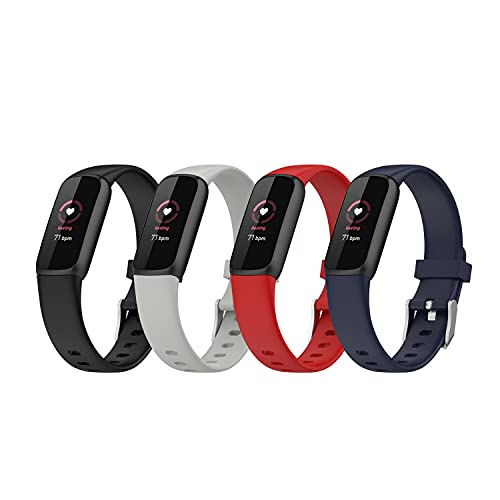 Bands Compatible with Fitbit Luxe Band Soft Silicone Waterproof Adjustable Sport Watch Strap Replacement Wristbands for Luxe Fitness and Wellness Tracker Band Accessories (4Colors)