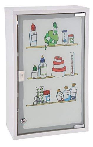 Spetebo Armoire à pharmacie en métal blanc avec verre dépoli et imprimé coloré – Armoire à pharmacie verrouillable dans un bel aspect