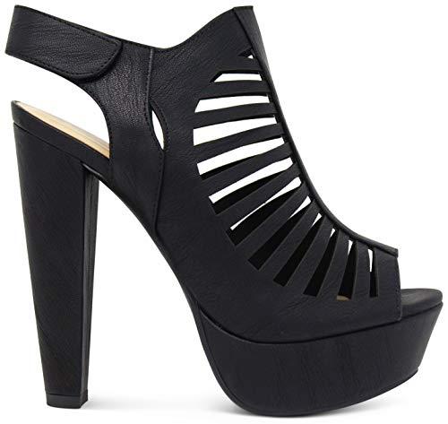 MARCOREPUBLIC Milan Peep Toe Slingback Ankle Strap Cut Out Platform Chunky Stacked Heels Sandals Pumps - (Black) - 8