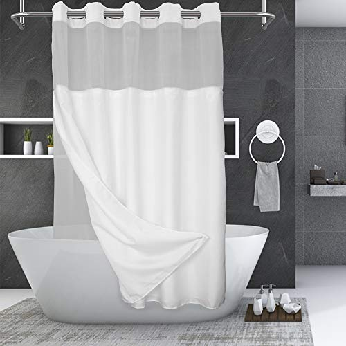 No Hooks Needed Shower Curtain with Snap-in PEVA Liner Set - Hotel Style with See Through Top Window, Machine Washable & Water Repellent, White, 71x74