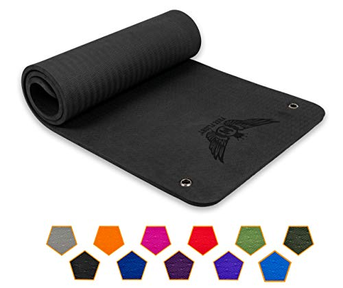 FREE FLIGHT Yogamatte rutschfest Fitnessmatte Gymnastikmatte Pilatesmatte Sportmatte Profimatte mit Ösen zum Aufhängen extra dick 1,5 cm hohe Dichte, SGS geprüft (Black, 183 x 61 x 1,5 cm)
