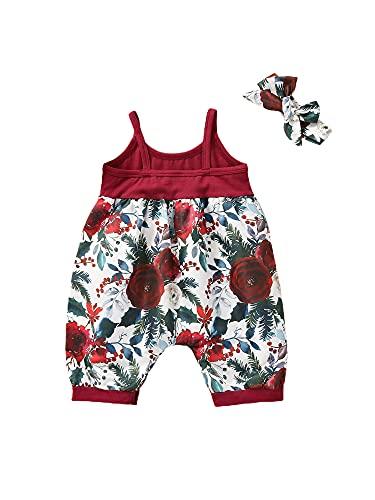 BemeyourBBs Mono de verano para bebé con diseño floral con sombrero, sin mangas, informal, de una pieza, ropa de pijama