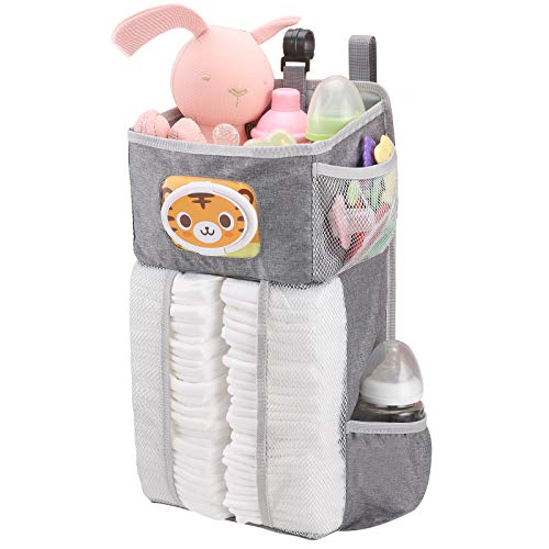 Accmor Hanging Baby Diaper Caddy Organizer with Paper Pocket, Diaper Stacker, Baby Crib Hanging Classified Storage Bag Organizer for Changing Table, Crib, Playard or Wall & Nursery Organization, Grey