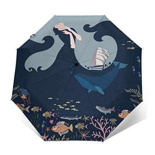 TISAGUER Regenschirm Taschenschirm,Geheimnisvolle See,Fisch und Wasserpflanzen unter dem Meer,Wal,schöne Elegante Frau und Wal,Auf Zu Automatik,windsicher,stabil