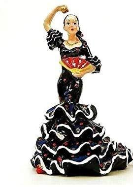 Figura de bailarina Flamenco vestido flamenca negro Deco Española Sevillana 9 cm