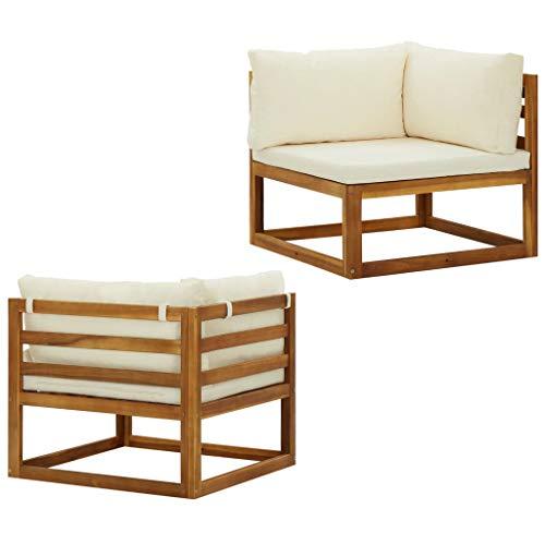 vidaXL 2X Sofás de Esquina Modulares con Cojines Butaca Asiento Exterior Jardín Patio Elástica Estable Duradera Salón Muebles Tela Blanco Crema