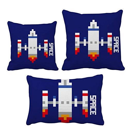 DIYthinker Space Ship Cohete Take Off Universe Pixel - Funda de cojín para decoración de sofá