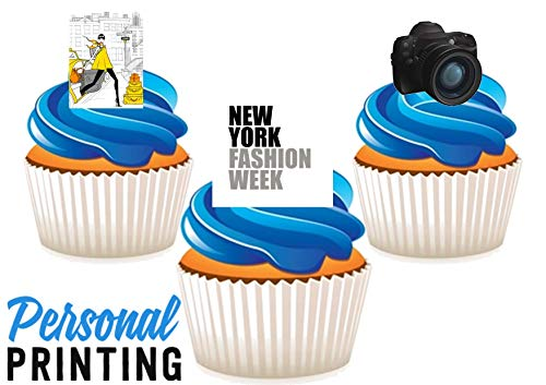 PP - New York Fashion Week Trio Mix 12 Eetbare Stand up Premium Wafer Card Cake Toppers Decoraties