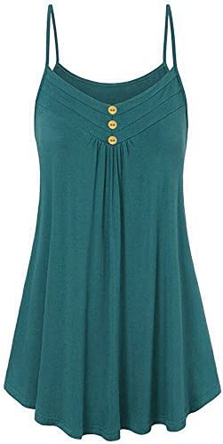 Aniywn Plus Size Vest Women Summer Loose Button V Neck Solid Color Pleated Cami Tank Tops Vest product image