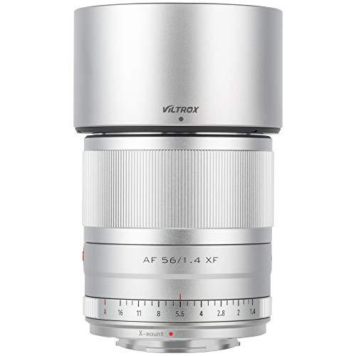 VILTROX AF 56mm f1.4 Obiettivo Autofocus per fotocamere Fuji X Mount (formato APS-C, occhi AF, apertura regolabile f1.4-f16), colore: Argento