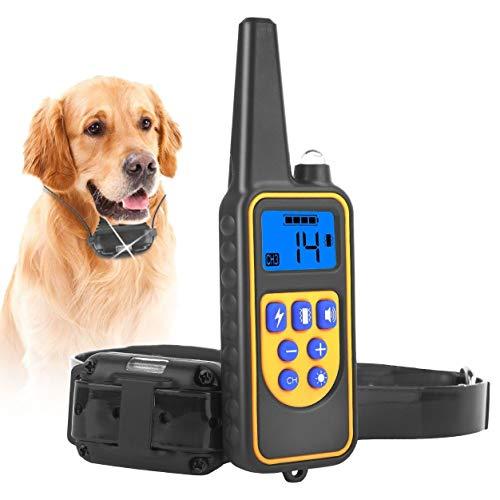 iMounTEK Dog Training Collar IP67 Waterproof Pet Trainer 300mAh Rechargeable 875 Yard Remote Control 4 Modes Adjustable Level