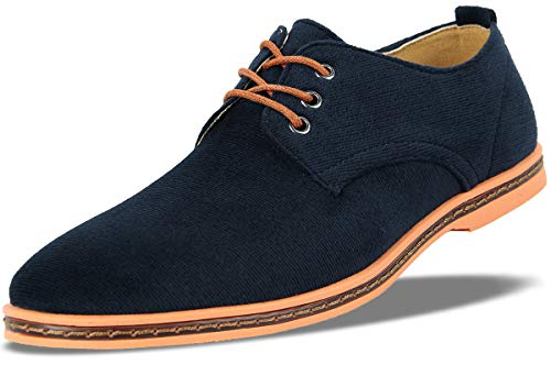 4HowMens Casual Oxford Lace Up Shoe Deep Blue US 9
