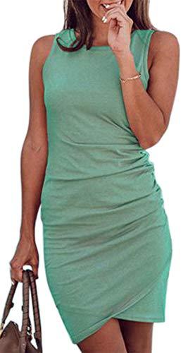 Faatoop Women's Sleeveless Summer Short Dress Tank Vest O Neck Bodycon T Shirt Short Mini Dress (Green, M)