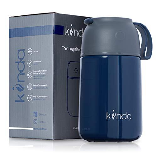 kiinda Thermobehälter Warmhaltebox 700ml BPA frei | Edelstahl Warmhaltebehälter Isolierbehälter Lunchbox für warme Speisen, Babynahrung, Suppe | Thermos Food Flask (dunkelblau)