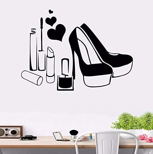 58X42Cm Zapatos Tacones altos Maquillaje Lápiz labial Salón de belleza Niñas Arte de la pared Pegatinas Calcomanías Vinilo Decoración de la habitación del hogar