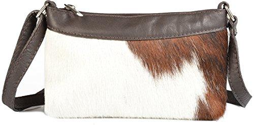VERI Kuhfell Damen Western Country Style Trachten Tasche Idee Felltasche Handtasche klein braun :