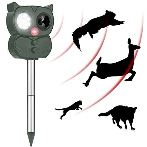 Ultraschall Katzenschreck für Garten, Das neueste Upgrade Katzenabwehr im Jahr 2021, wiederaufladbar, wasserdicht nach IP65, Fünfgang-Einstellung Blitz und Sprachalarm Tiervertreiber mit Solar