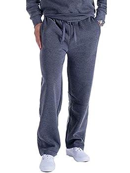 Hanway Fleece Joggers Pants for Men Athletic Loose Fit Open Bottom Sweatpants Dark Grey X-Large