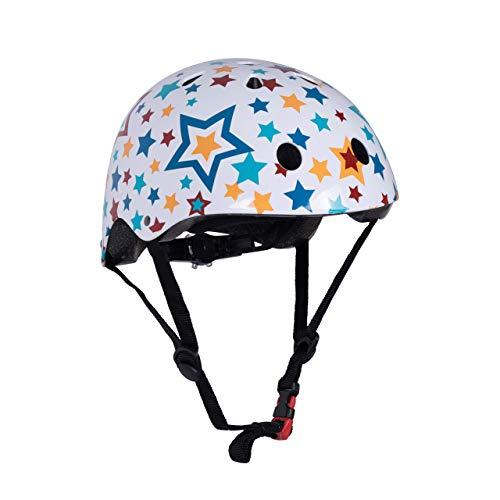 KIDDIMOTO Fahrrad Helm für Kinder - CE-Zertifizierung Fahrradhelm - Design Sport Helm für Skates, Roller, Scooter, laufrad (S (48-53cm), Sterne)