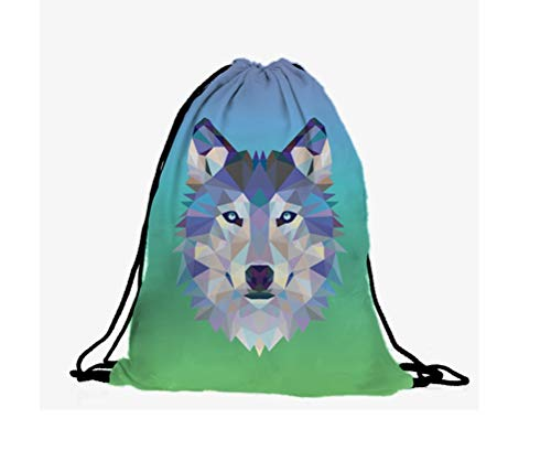 Hanessa Jutebeutel - Low-Poly Wolf-Gesicht blau-grün - mit lustigem Spruch Aufdruck Sportbeutel lustige Sprüche Rucksack Beutel Tasche Gym Bag Hipster Fashion Sport-Tasche Einkaufs-Tasche RU-317