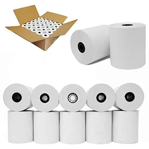 "(50 Rolls) 3"" x 165' 1-Ply Bond Receipt Paper POS Cash Register Paper | TMU200 SRP275 Star sp 700 Kitchen Printer Paper Rolls"